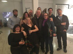 L'équipe de moonGARDEN @ Houston. De gauche à droite : Louis Roy (illustrateur), Milène Tessier (technicienne), Léa, Juliette Sarrazin (designer), Bernard, Pierre Jutras et sa fille (CozyBubble), Sebbe, Benoît Gromko, Simon Charrier (compositeur)
